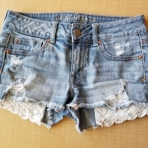 AEO Lace Detail Shortie Distressed Jean Shorts